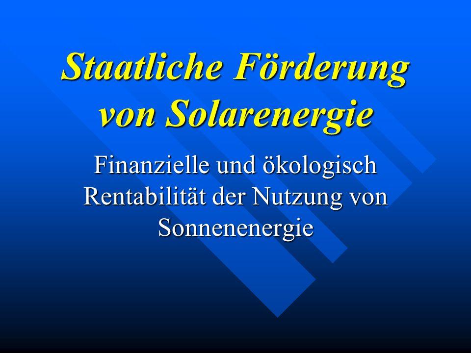 Staatliche Förderung von Solarenergie