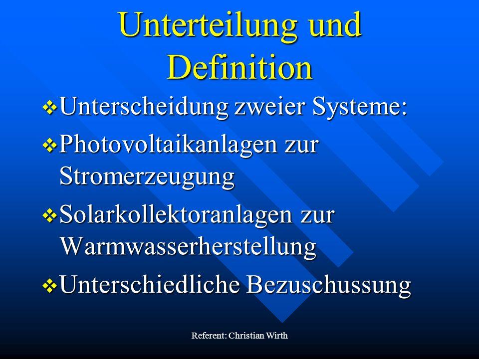 Unterteilung und Definition