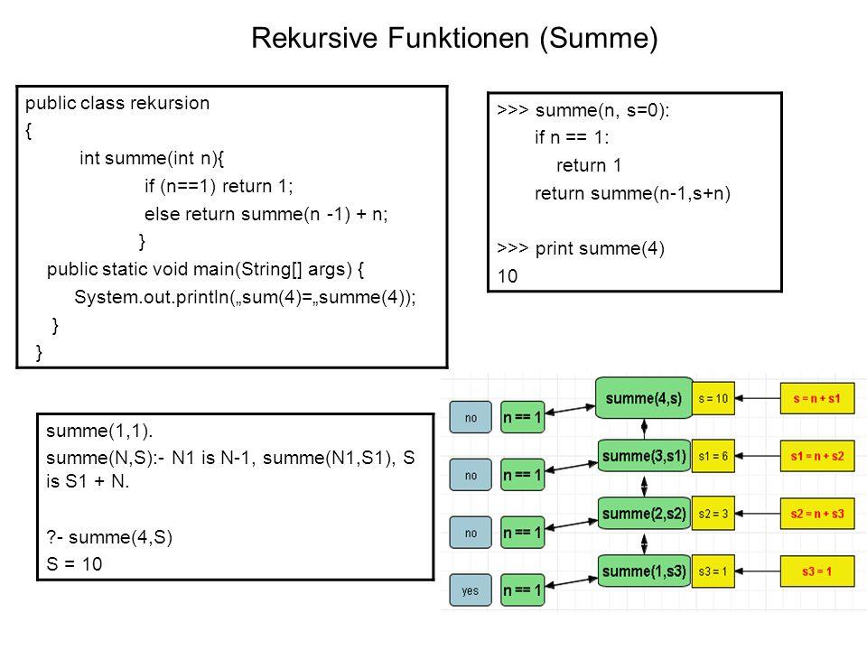 Rekursive Funktionen (Summe)