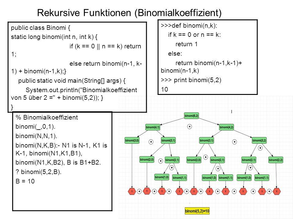 Rekursive Funktionen (Binomialkoeffizient)