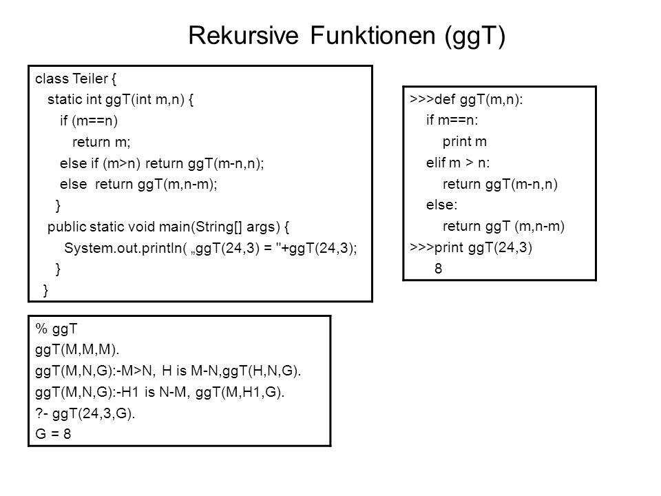 Rekursive Funktionen (ggT)