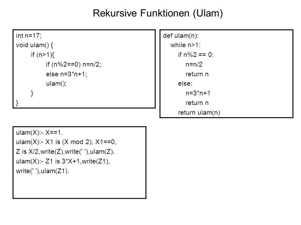 Rekursive Funktionen (Ulam)