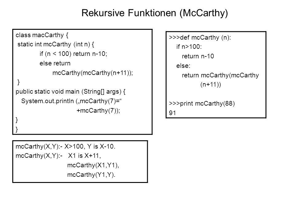 Rekursive Funktionen (McCarthy)