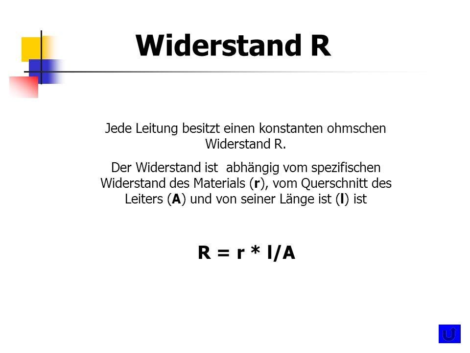 Jede Leitung besitzt einen konstanten ohmschen Widerstand R.