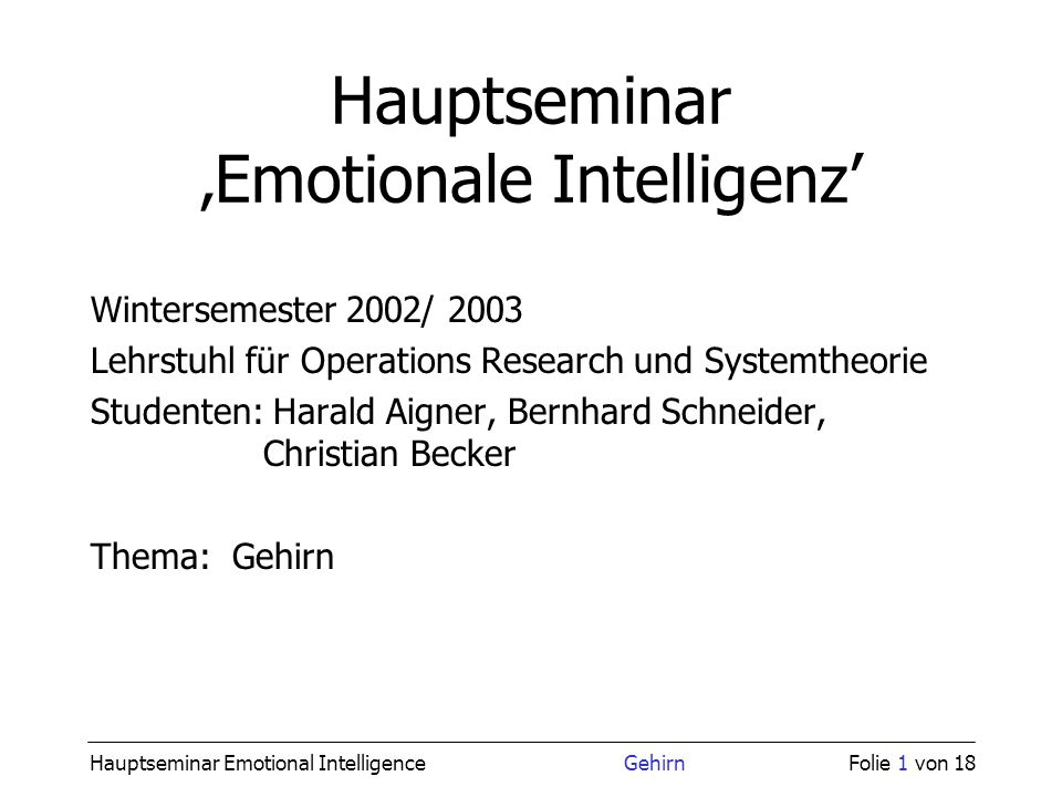Hauptseminar 'Emotionale Intelligenz'