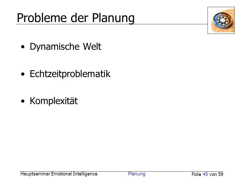 Probleme der Planung Dynamische Welt Echtzeitproblematik Komplexität