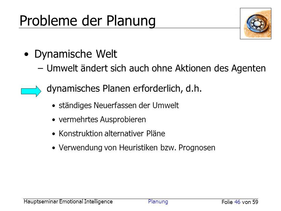Probleme der Planung Dynamische Welt