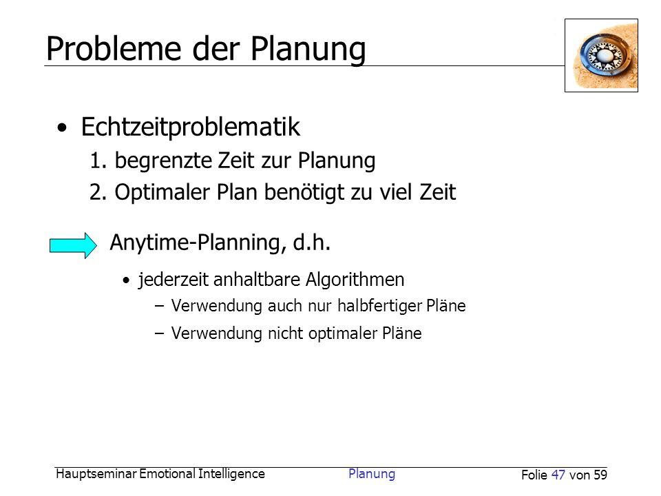 Probleme der Planung Echtzeitproblematik Anytime-Planning, d.h.