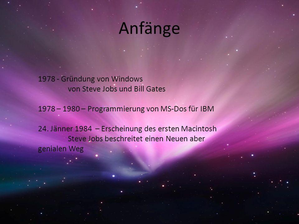 Anfänge 1978 - Gründung von Windows von Steve Jobs und Bill Gates