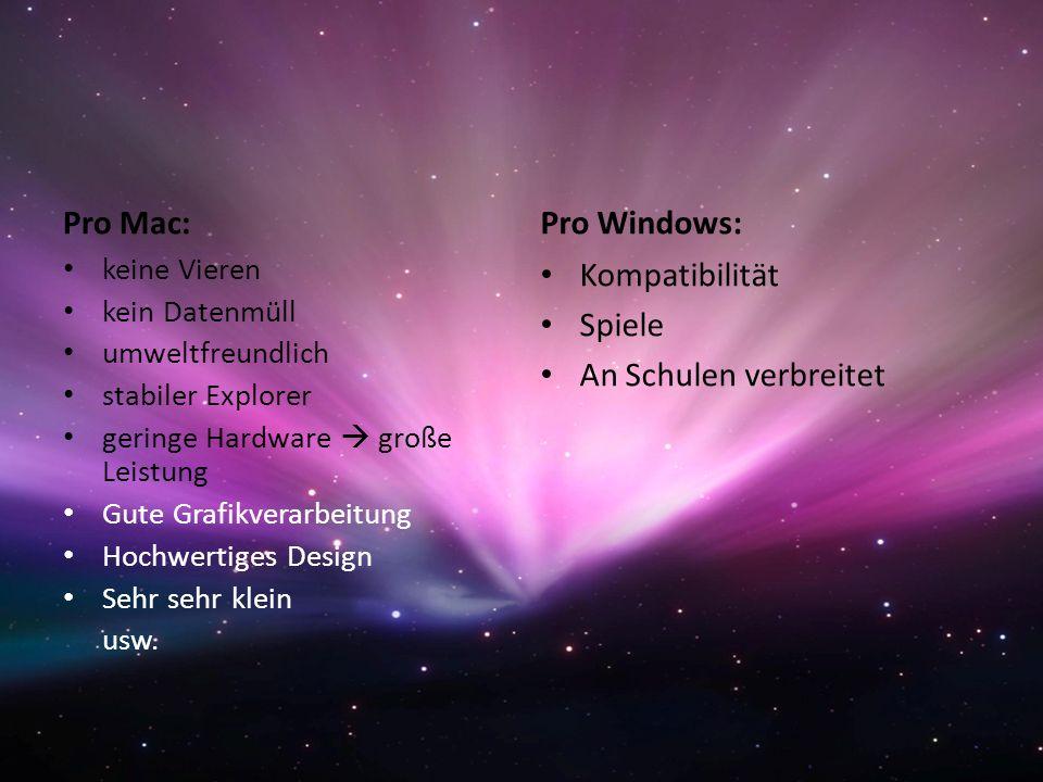 Pro Mac: Pro Windows: Kompatibilität Spiele An Schulen verbreitet