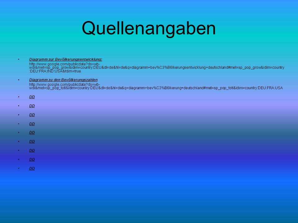 Quellenangaben Diagramm zur Bevölkerungsentwicklung: