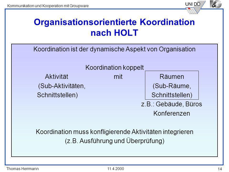 Organisationsorientierte Koordination nach HOLT