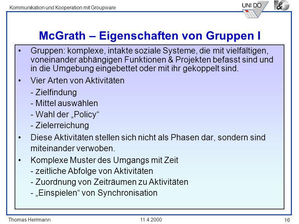 McGrath – Eigenschaften von Gruppen I