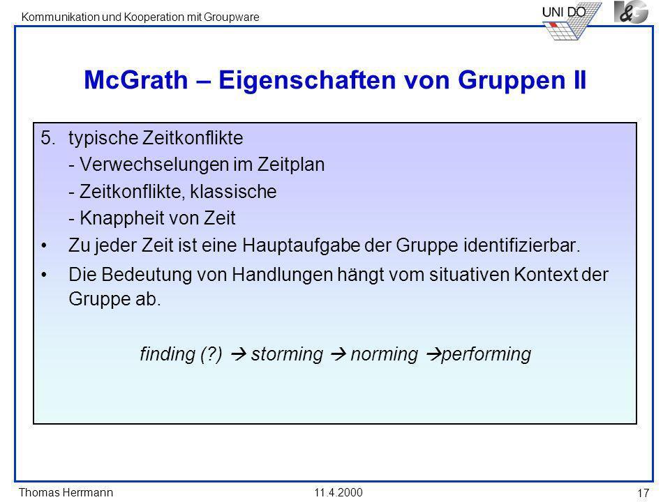 McGrath – Eigenschaften von Gruppen II