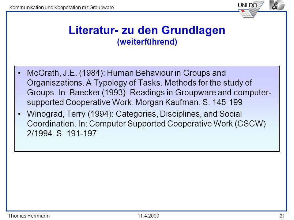 Literatur- zu den Grundlagen (weiterführend)