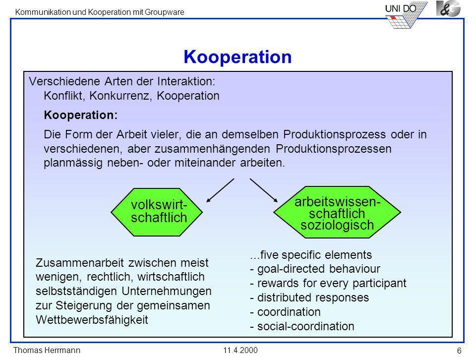 Kooperation arbeitswissen- volkswirt- schaftlich schaftlich