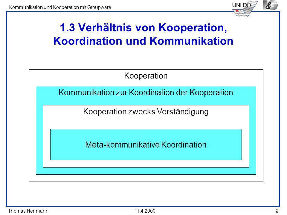 1.3 Verhältnis von Kooperation, Koordination und Kommunikation