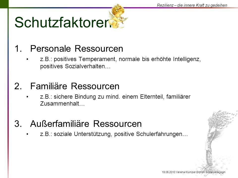Schutzfaktoren Personale Ressourcen Familiäre Ressourcen
