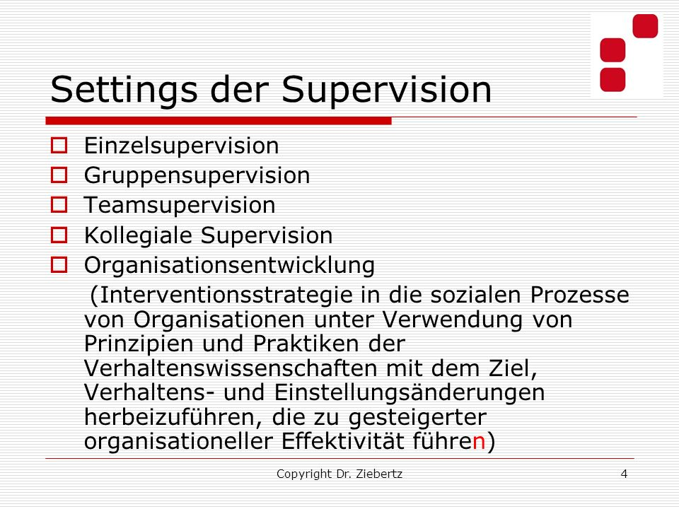 Settings der Supervision