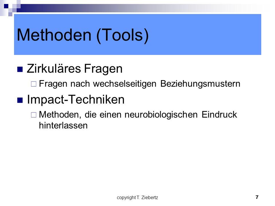 Methoden (Tools) Zirkuläres Fragen Impact-Techniken