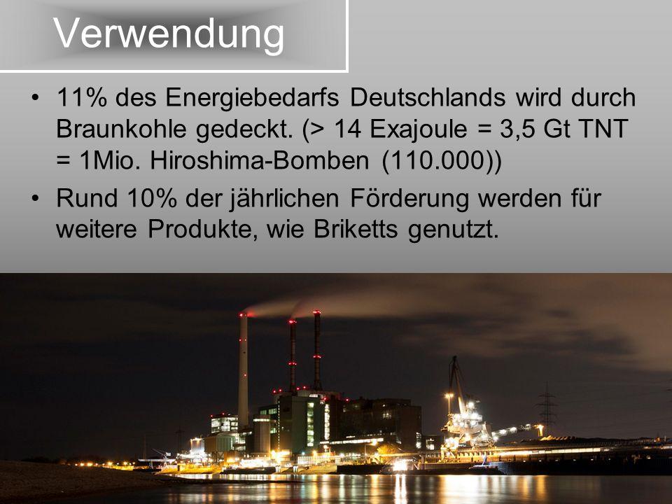 Verwendung 11% des Energiebedarfs Deutschlands wird durch Braunkohle gedeckt. (> 14 Exajoule = 3,5 Gt TNT = 1Mio. Hiroshima-Bomben (110.000))