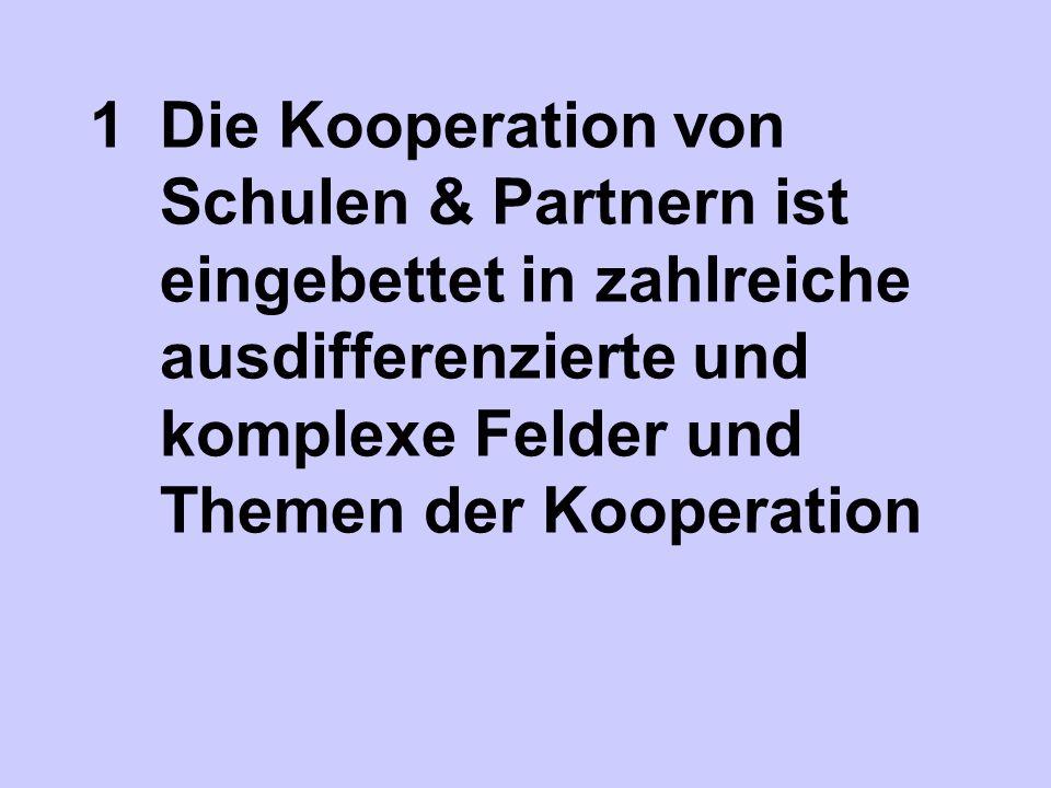 1 Die Kooperation von Schulen & Partnern ist eingebettet in zahlreiche ausdifferenzierte und komplexe Felder und Themen der Kooperation