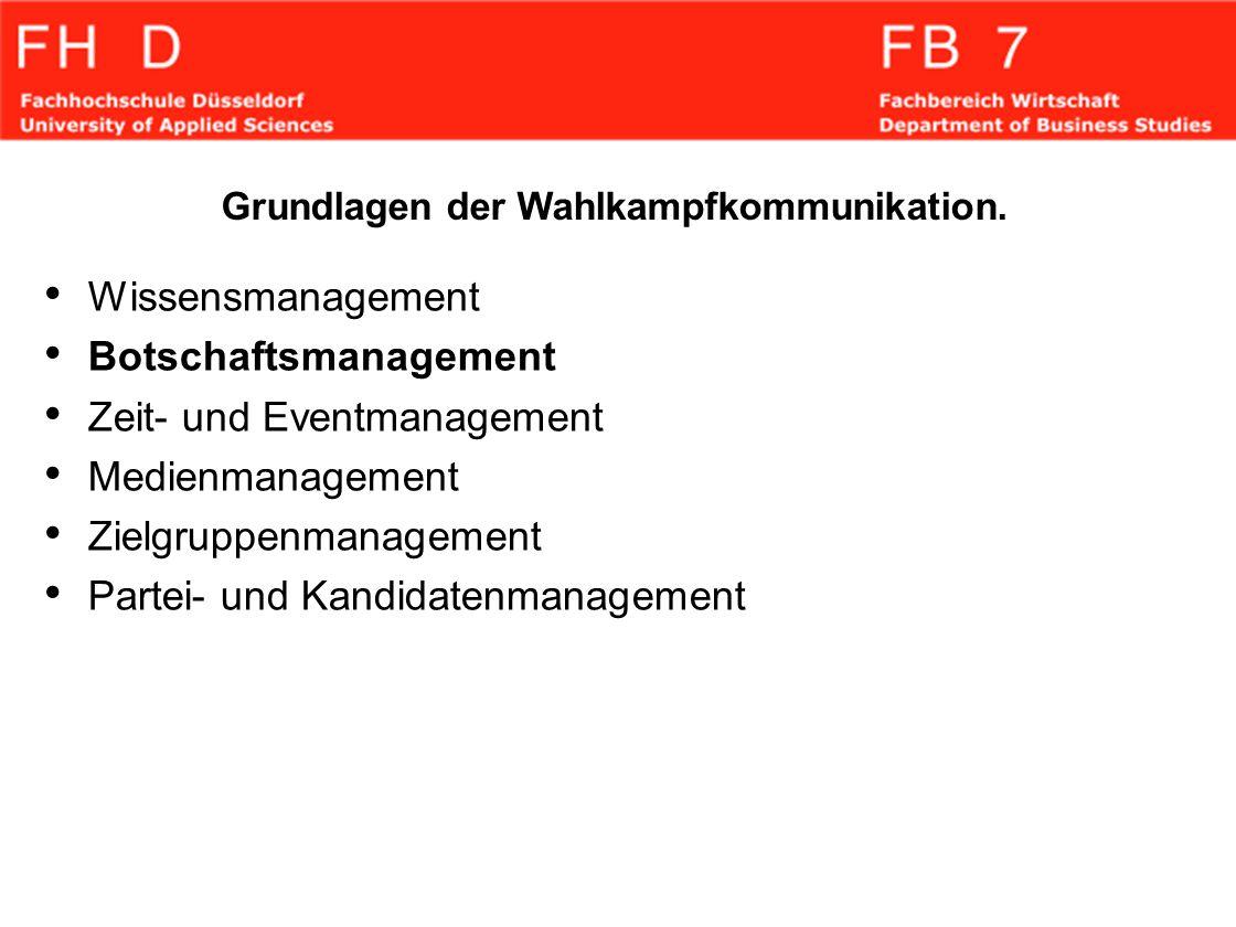 Botschaftsmanagement Zeit- und Eventmanagement Medienmanagement