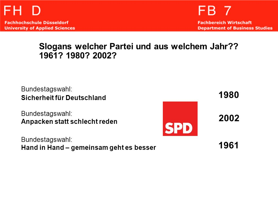 Slogans welcher Partei und aus welchem Jahr 1961 1980 2002