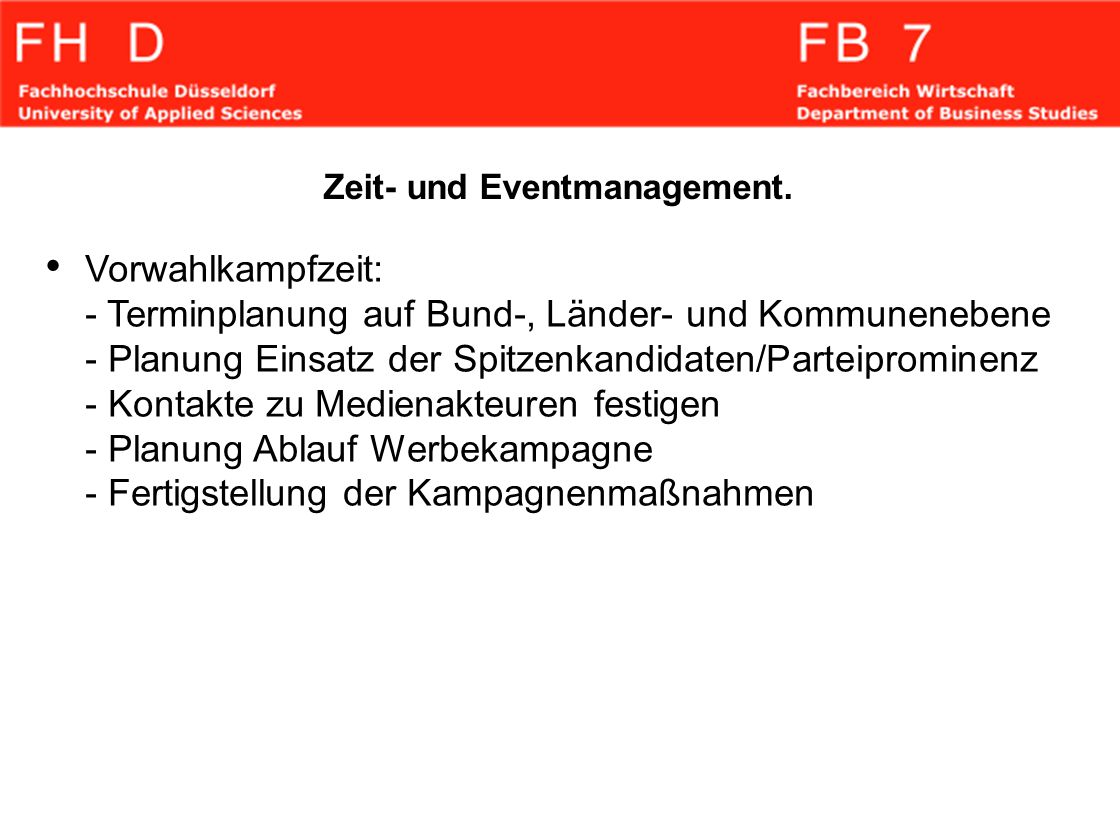 Zeit- und Eventmanagement.