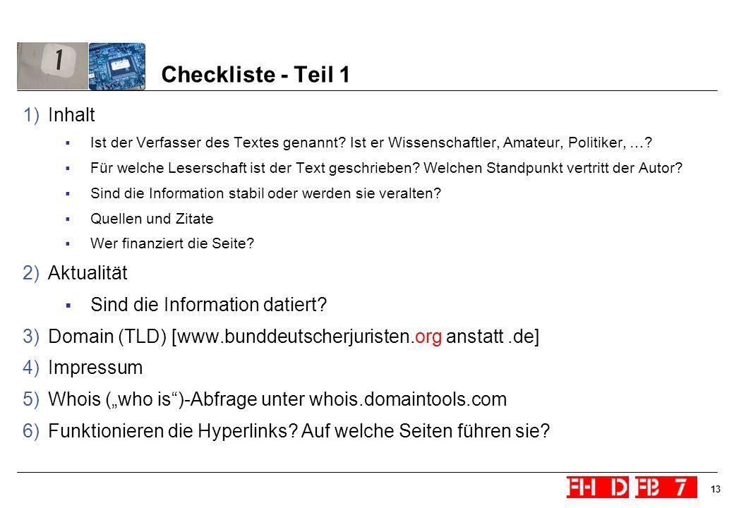 Checkliste - Teil 1 Inhalt Aktualität Sind die Information datiert