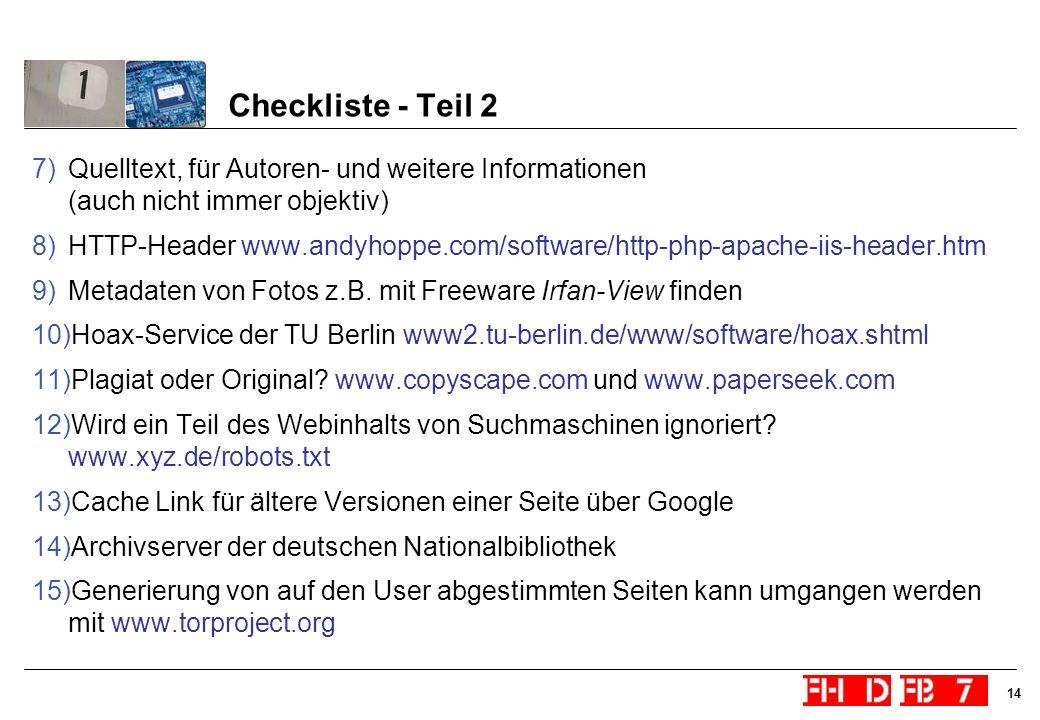Checkliste - Teil 2Quelltext, für Autoren- und weitere Informationen (auch nicht immer objektiv)