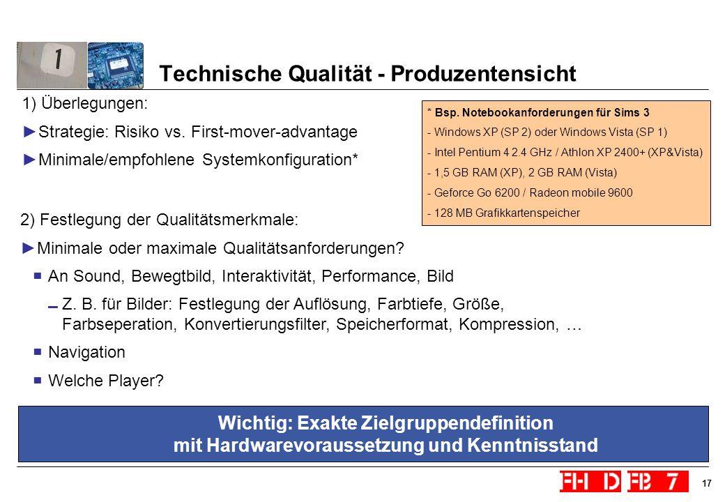 Technische Qualität - Produzentensicht