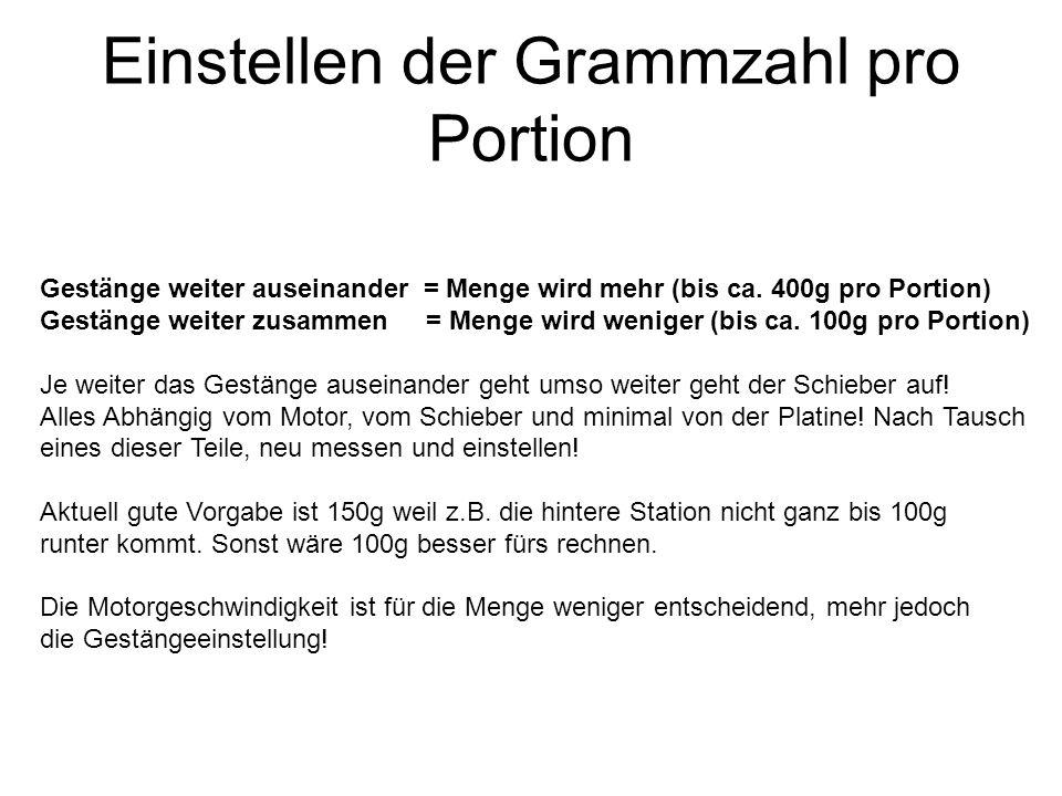 Einstellen der Grammzahl pro Portion