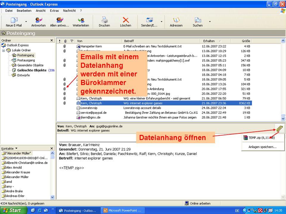 Emails mit einem Dateianhang werden mit einer Büroklammer gekennzeichnet.