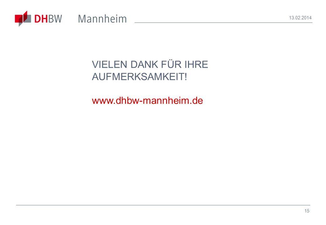VIELEN DANK FÜR IHRE AUFMERKSAMKEIT! www.dhbw-mannheim.de