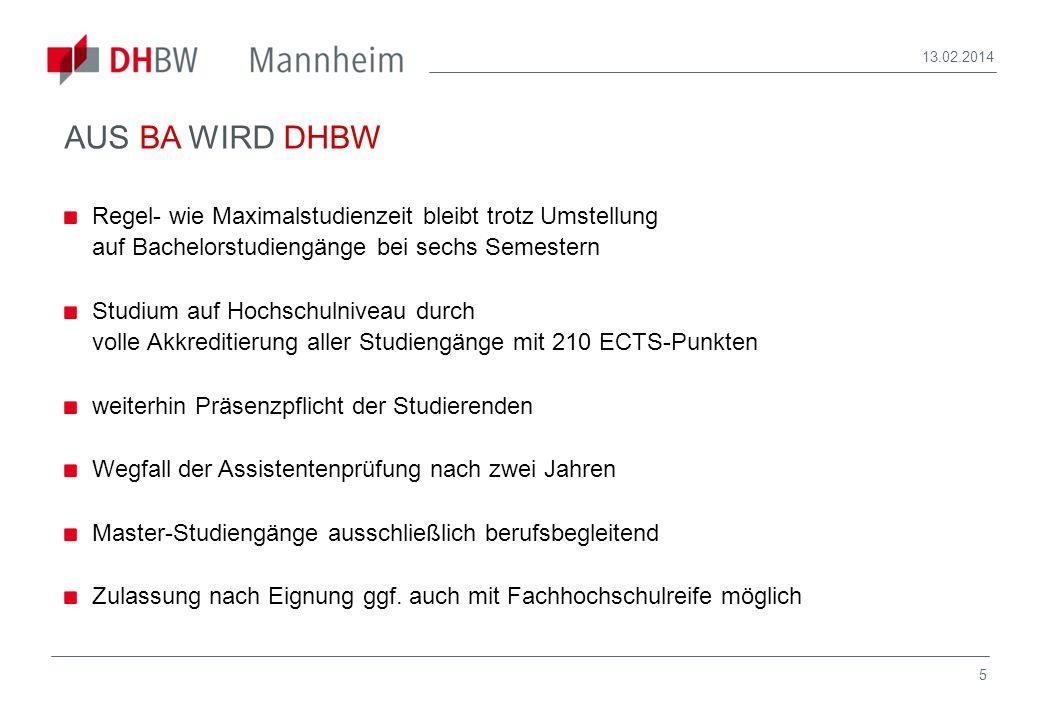 28.03.2017AUS BA WIRD DHBW. Regel- wie Maximalstudienzeit bleibt trotz Umstellung auf Bachelorstudiengänge bei sechs Semestern.