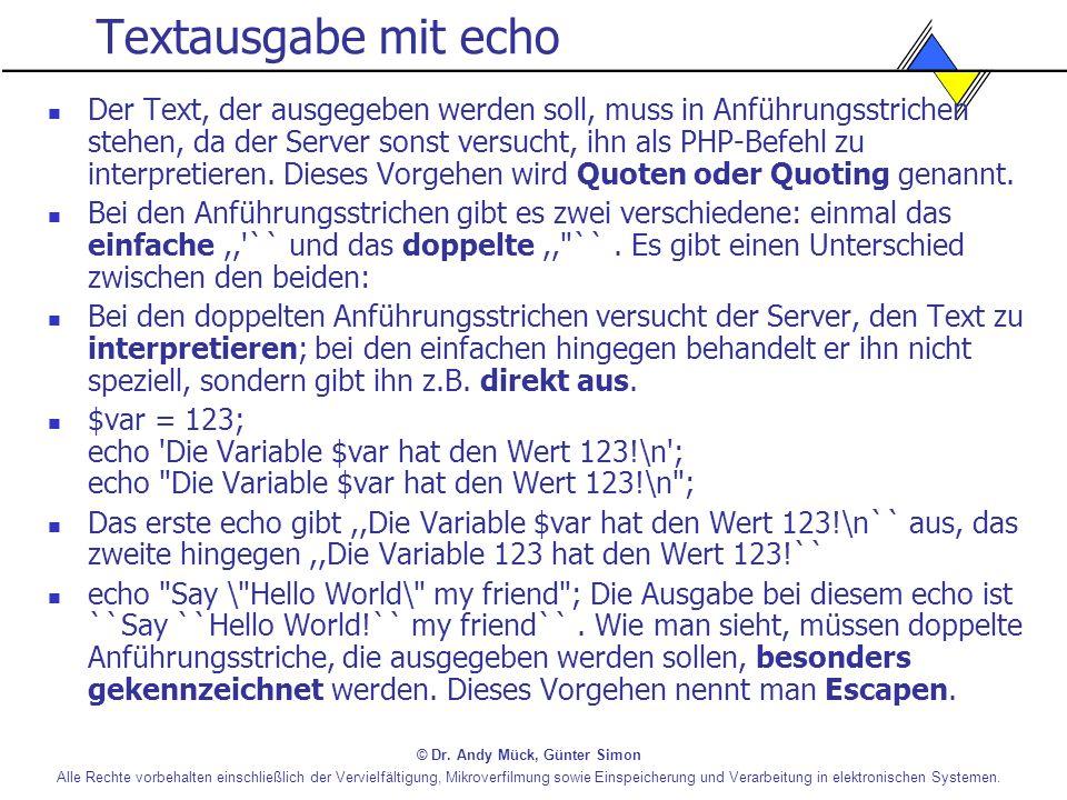 Textausgabe mit echo