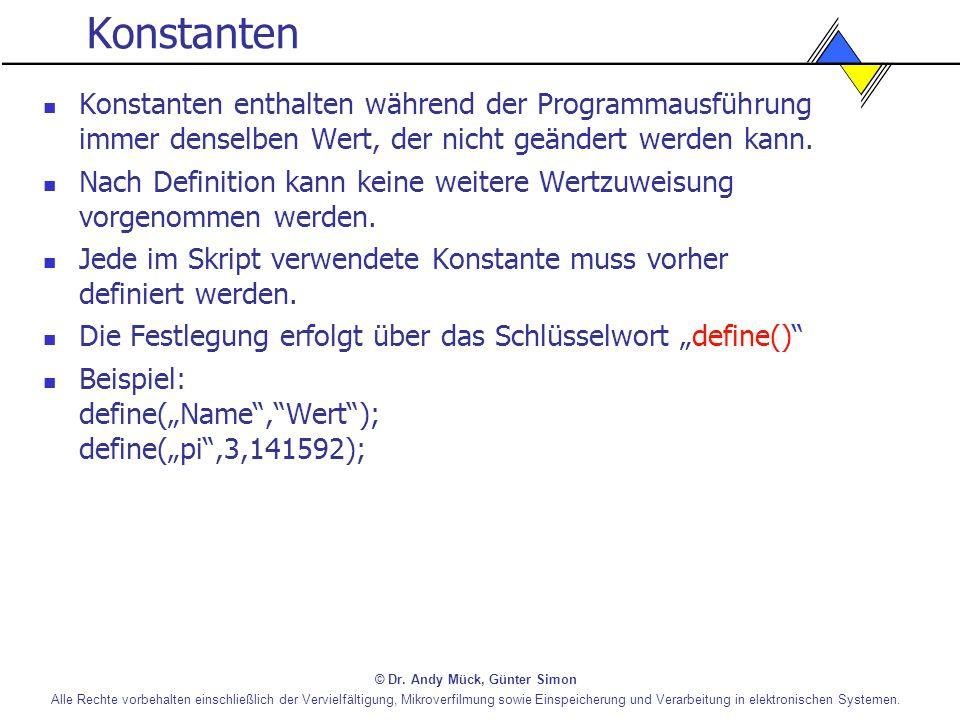 Konstanten Konstanten enthalten während der Programmausführung immer denselben Wert, der nicht geändert werden kann.