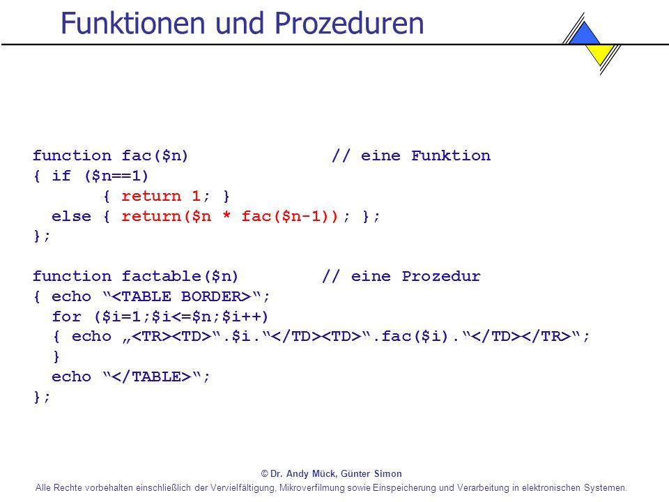 Funktionen und Prozeduren