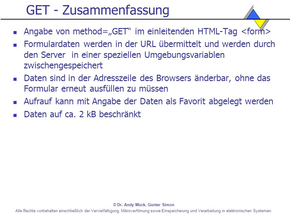 """GET - Zusammenfassung Angabe von method=""""GET im einleitenden HTML-Tag <form>"""