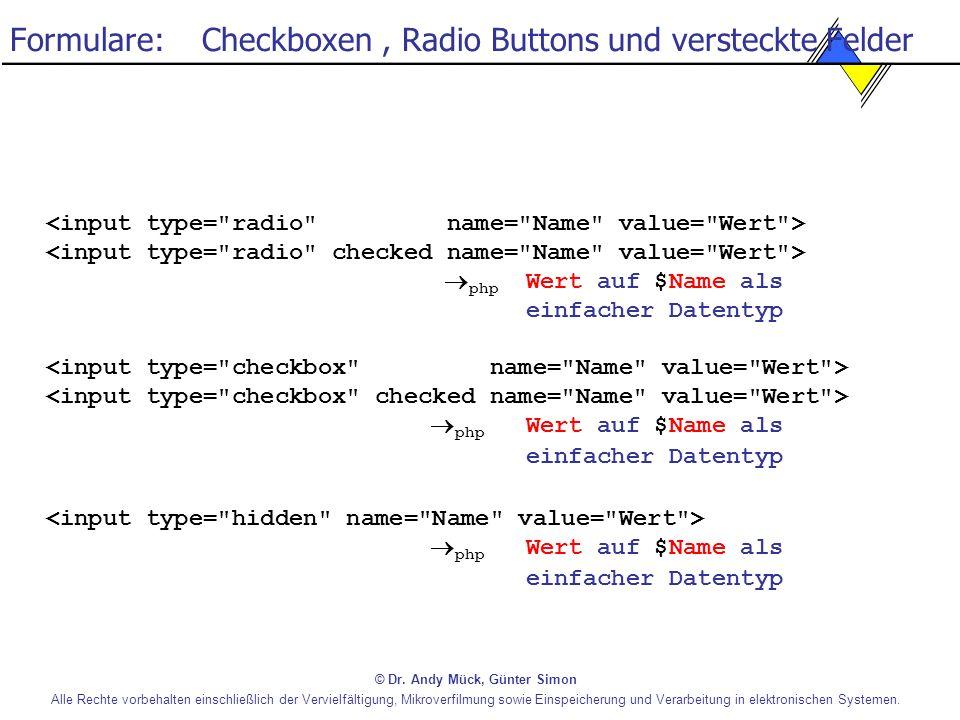 Formulare: Checkboxen , Radio Buttons und versteckte Felder