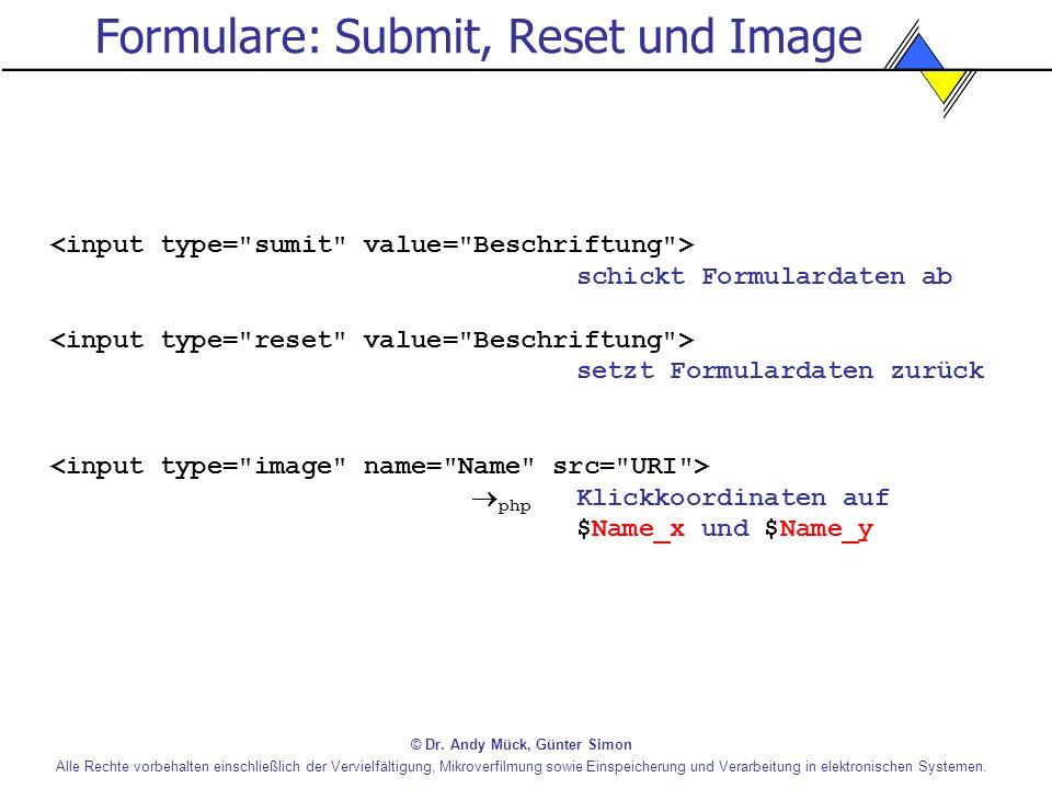 Formulare: Submit, Reset und Image