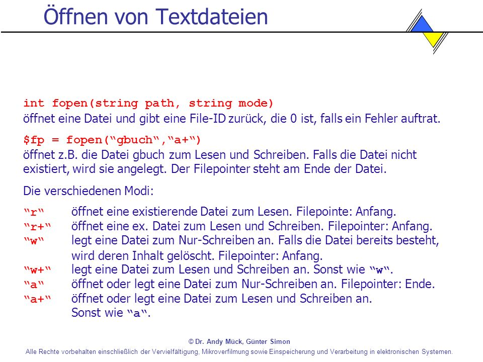 Öffnen von Textdateien