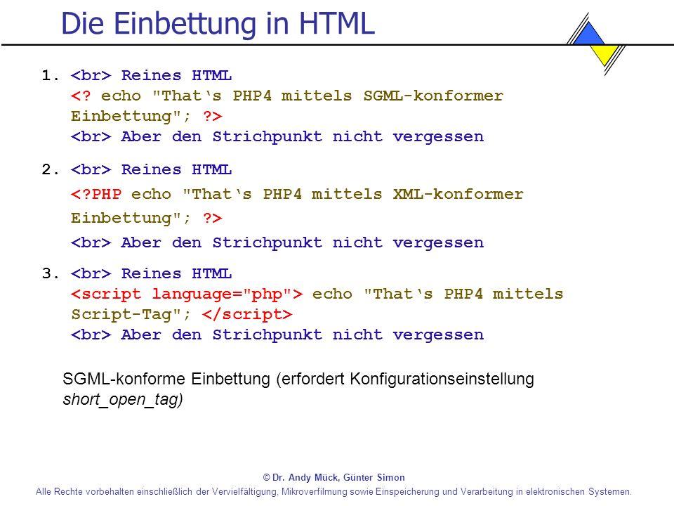 Die Einbettung in HTML