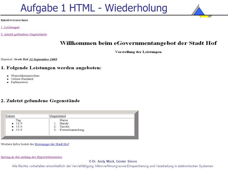 Aufgabe 1 HTML - Wiederholung