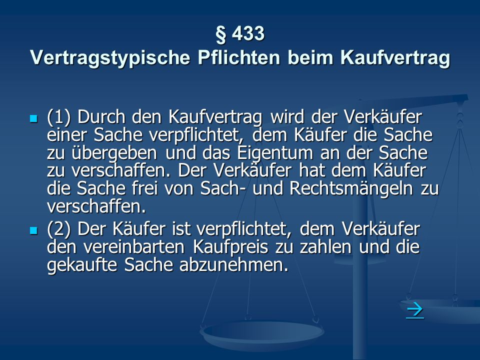 § 433 Vertragstypische Pflichten beim Kaufvertrag