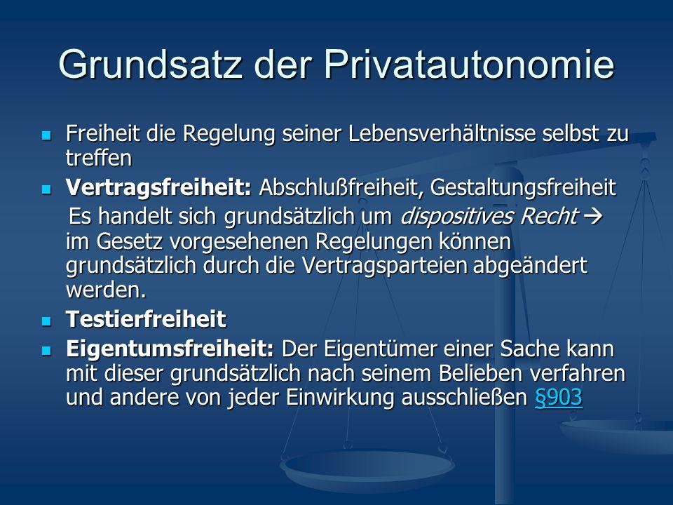 Grundsatz der Privatautonomie