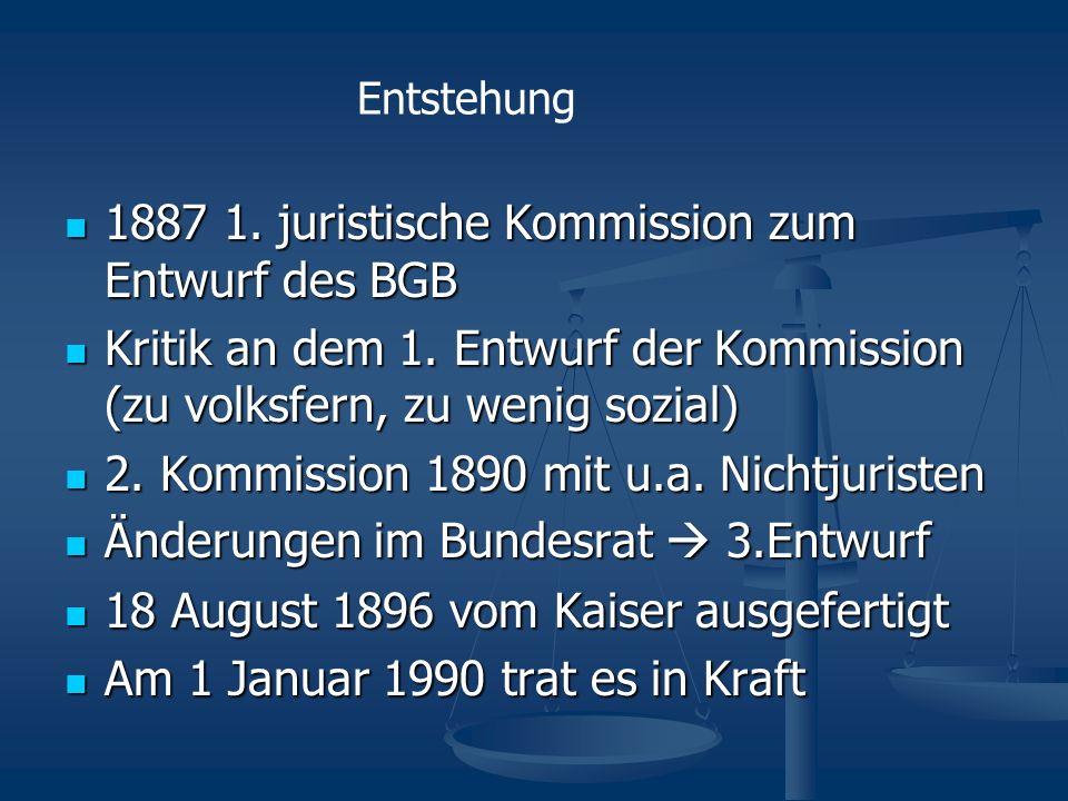 1887 1. juristische Kommission zum Entwurf des BGB