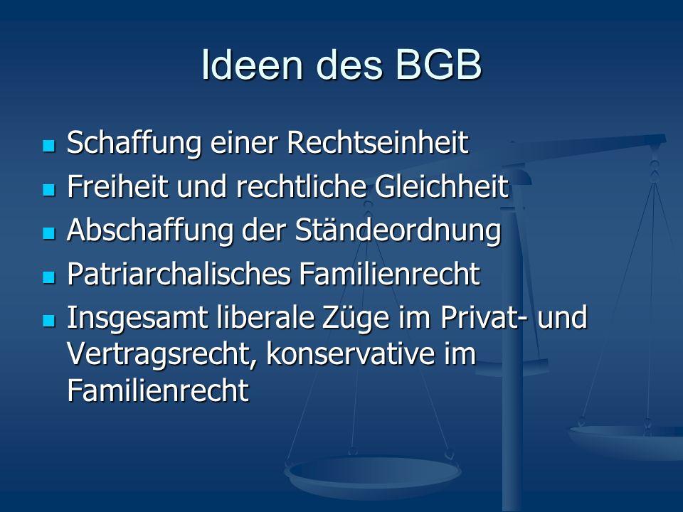 Ideen des BGB Schaffung einer Rechtseinheit