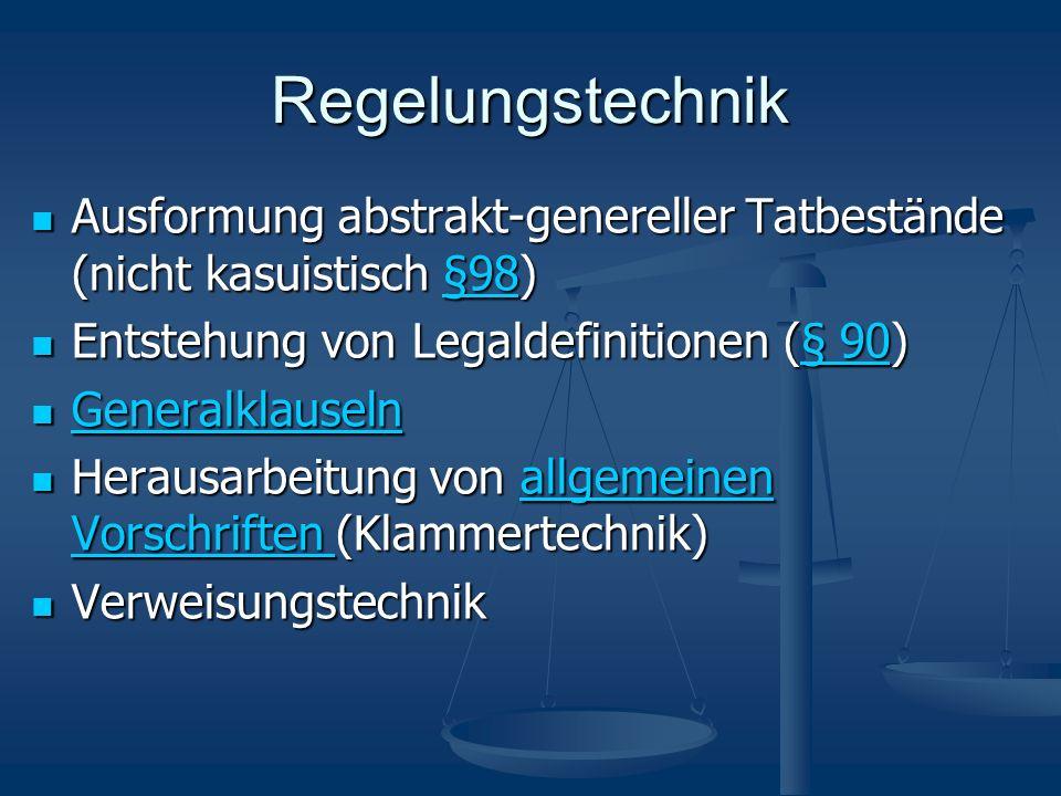 Regelungstechnik Ausformung abstrakt-genereller Tatbestände (nicht kasuistisch §98) Entstehung von Legaldefinitionen (§ 90)